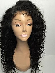 cheap -Human Hair Glueless Full Lace Wig Brazilian Hair Curly 130% Density 8-30 inch With Baby Hair / Natural Hairline / 8a Natural Black Women's Short Human Hair Lace Wig