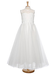 cheap -Ball Gown Floor Length Flower Girl Dress - Lace / Tulle Sleeveless Jewel Neck with Lace by