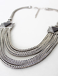 cheap -Women's Statement Necklace  -  Personalized Natural Multi Layer Single Strand Silver Necklace For Party Daily Casual