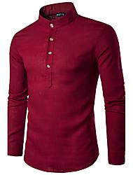 Недорогие -Мужчины На каждый день Весна Осень Рубашка Воротник-стойка,Простое Однотонный Розовый Белый Серый Длинный рукав,Хлопок,Средняя