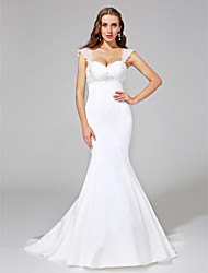 cheap -Mermaid / Trumpet Straps Court Train Satin Made-To-Measure Wedding Dresses with Beading / Criss-Cross by LAN TING BRIDE® / Open Back