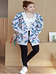 Women's Daily Street Basic Vacation Hoodie Jacket Floral Hooded Stretchy N/A Long Sleeve Autumn Spring