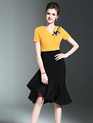 Trapèze Robe Femme Décontracté / Quotidien simple,Mosaïque Col en V Midi Manches Courtes Noir Jaune Polyester Printemps Eté Taille Normale