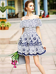 BLUEOXY Women's Going out Casual/Daily Simple Skater Dress,Floral Boat Neck Mini Short Sleeve Blue Polyester Spring Summer Mid Rise Micro-elastic