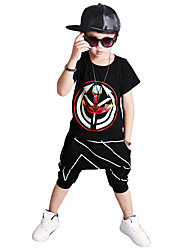 cheap -Boys' Daily Sports Going out Print Clothing Set,Cotton Summer Short Sleeve Cartoon White Black