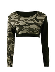 Feminino Camiseta Para Noite Casual Esportivo Sensual Moda de Rua Activo Primavera Outono,camuflagem Verde Poliéster Decote RedondoManga