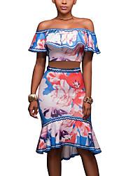 T-shirt Gonna Completi abbigliamento Da donna Per uscire Casual Vintage Boho Estate,Fantasia floreale scollo a barchetta PoliestereCon