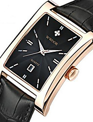 abordables -WWOOR Hombre Reloj de Pulsera Calendario / Cool Piel Banda Casual / Moda Negro / Marrón