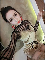 firmare nuova garza di prospettiva sexy che basa la camicia + vestito di velluto oro fionda tuta