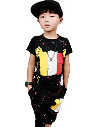 Boy's Going out Casual/Daily/Sports Cartoon Print Sets Cotton Summer Short Sleeve Pants 2 Piece Clothing Set Children's Garments