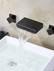 cheap -Oil Rubbed Bronze Black Wall Mounted Bathroom Faucet Waterfall Faucet Bathroom Waterfall Taps