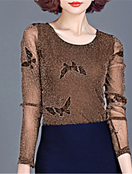 cheap -Women's Going out Street chic Blouse - Animal