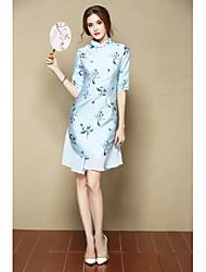 Trapèze Robe Femme Sortie Soirée / Cocktail Mignon Chinoiserie,Fleur Mao Au dessus du genou ½ Manches Bleu Rose Polyester Printemps Eté