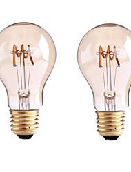 cheap -2PCS 3.5W 400 lm B22 E26/E27 LED Filament Bulbs G60 1 leds COB Dimmable Warm White 2700-3500K AC 220-240 AC 110-130V
