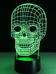 cheap -Illusion Tooth Football Skull Iron Man 3D LED Night Light Acrylic Colorful Kids Baby Bedroom USB Table Lamp Touch/Remote Switch
