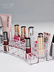 cheap -Lipstick Cosmetic Make Up Clear Acrylic Curved Organiser Makeup Organizer Storage Box