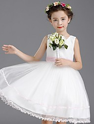 cheap -Ball Gown Knee Length Flower Girl Dress - Organza Sleeveless Jewel Neck with Sequin by YDN