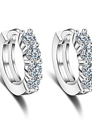 cheap -Hoop Earrings AAA Cubic Zirconia Sterling Silver Jewelry Wedding Party Daily Casual Costume Jewelry
