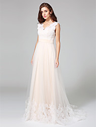 cheap -A-Line V Neck Sweep / Brush Train Lace Over Tulle Custom Wedding Dresses with Buttons Sash / Ribbon by LAN TING BRIDE®