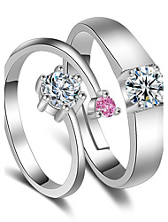 Ring Wedding Party Special Occasion Jewelry Platinum Plated Pink Couple Rings 1 pair Adjustable Silver