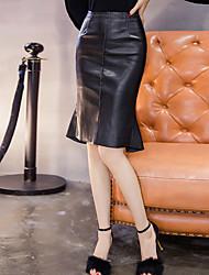 economico -Da donna Da cerimonia Da ufficio Casual Per uscire Sopra il ginocchio Gonne,Attillato Tinta unica Con balze Classico Retrò Alla moda