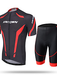 cheap -XINTOWN Men's Short Sleeves Cycling Jersey with Shorts - White Red Blue Bike Shorts Jersey Pants / Trousers Clothing Suits, Quick Dry,