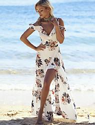 Недорогие -Пляж Свободный силуэт Платье С разрезами С принтом Глубокий V-образный вырез Макси Белый / С открытыми плечами / Цветочный принт