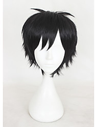 cheap -Synthetic Wig / Cosplay & Costume Wigs Straight / kinky Straight With Bangs Synthetic Hair Black Wig Women's Short Capless
