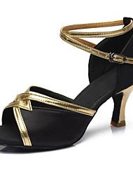 "cheap -Women's Latin Leatherette Fabric Sandal Heel Performance Buckle Cuban Heel Black Brown Red Blue 2"" - 2 3/4"" Customizable"