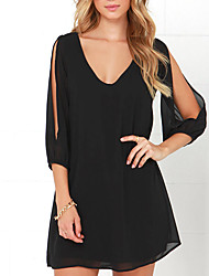 cheap -Daily Going out Casual Sexy Sheath Dress,Solid V Neck Above Knee Polyester Spring Fall Mid Rise Micro-elastic Medium