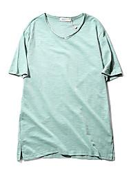 neues 201 koreanische Männer Baumwolle Kurzarm-V-Neck T-Shirt Normallack Wild