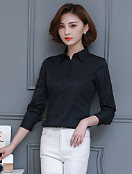 cheap -Women's Training Office / Career Business Formal Office & Career Business Attire Casual Fall Shirt,Solid Color Shirt Collar Long Sleeves