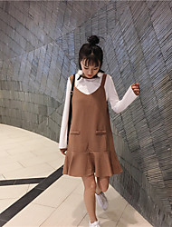 New spring was thin straps fishtail skirt a word long-sleeved sweater dress suspenders piece fitted solid