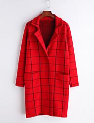 cheap -Women's Cardigan - Plaid Shirt Collar