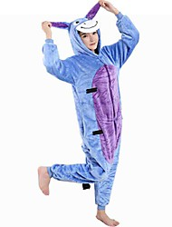 abordables -Enfant Adulte Pyjamas Kigurumi Âne Combinaison de Pyjamas Flanelle Toison Bleu Cosplay Pour Garçons et filles Pyjamas Animale Dessin animé Halloween Fête / Célébration