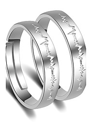 cheap -Women's Platinum Plated Couple Rings - Princess Classic For Wedding Party Special Occasion Party / Evening