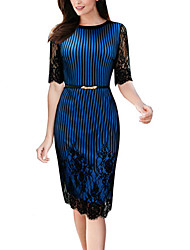 Women's Casual/Daily Work Simple Street chic Sheath DressPatchwork Lace Slim Grace Round Neck Knee-length  Length Sleeve Summer Fall High Rise