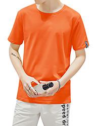 T-shirt Da uomo Casual Spiaggia Sportivo Semplice Moda città Attivo Estate,Tinta unita Rotonda Cotone Blu Rosa Bianco Nero Verde Arancione
