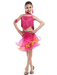 Budeme latinské taneční oblečení děti výkon splicing top sukně