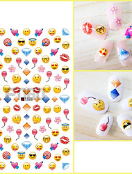 1pcs Nail Art Sticker 3D Nail Stickers Lovely Cartoon QQ Expreession Love Heart Balloon Diamond Lips Design Nail Beauty Tips F060