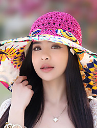 cheap -Women Summer Sun Folded Beach Hollow Woven Flower Printing Bow Lace Straw Hat