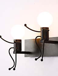 cheap -Robot shape Vintage Metal Industrial Loft Rustic Wall Sconce Bar Cafe  Entry Hallway Wall Lamp Black White Optional