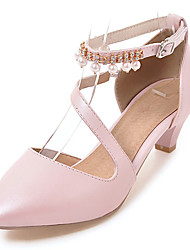 cheap -Women's Heels Club Shoes Leatherette Spring Summer Casual Outdoor Dress Club Shoes Rhinestone Imitation Pearl Buckle Chunky HeelWhite