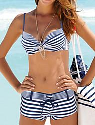 abordables -Femme Licou Bikinis Géometrique,Nylon Spandex Rayures
