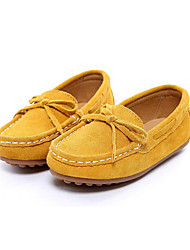 Girls's Loafers & Slip-Ons Spring Summer Fall Moccasin Suede Outdoor Athletic Dress Casual Flat Heel Bowknot Yellow Green Rose Pink