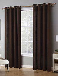 cheap -Grommet Top One Panel Curtain Modern, Print Solid Living Room Linen/Polyester Blend Material Curtains Drapes Home Decoration