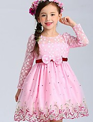 cheap -Girl's Floral Dress,Polyester Spring Summer Fall Long Sleeve Lace Bow Blushing Pink