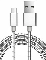 2017 New 100CM 2A Metal Spring Cable High Speed Micro USB Charger and Data Cable for Samsung Huawei LG SONY Xiaomi and Others