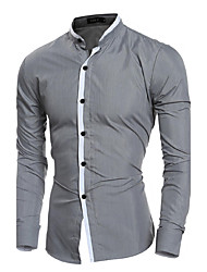cheap -Men's Daily Formal Work Casual All Seasons Shirt,Solid Standing Collar Long Sleeves Cotton Polyester