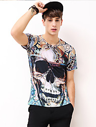 Men's Casual/Daily Party/Cocktail Club Boho Street chic Punk & Gothic Spring Summer T-shirt,Print Round Neck Short Sleeve Multi-color
